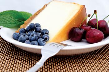 Cheese Cake, Cherries And Blueberries