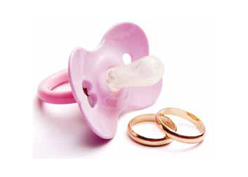 Baby Pacifier And Wedding Rings, Conceptual