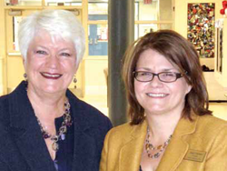 Minister Sandals with Hilson Principal Lisa Clayton.
