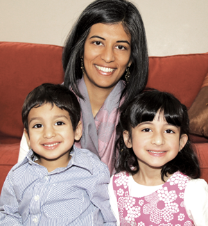 Anshumala Juyal with her son Anadi, 3, and daughter Tosca, 6.