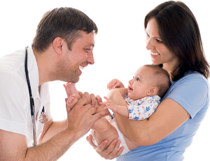 Doctor and a woman with a newborn