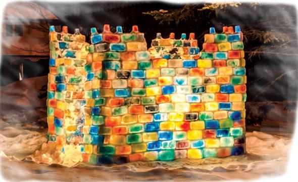 Block fort at night