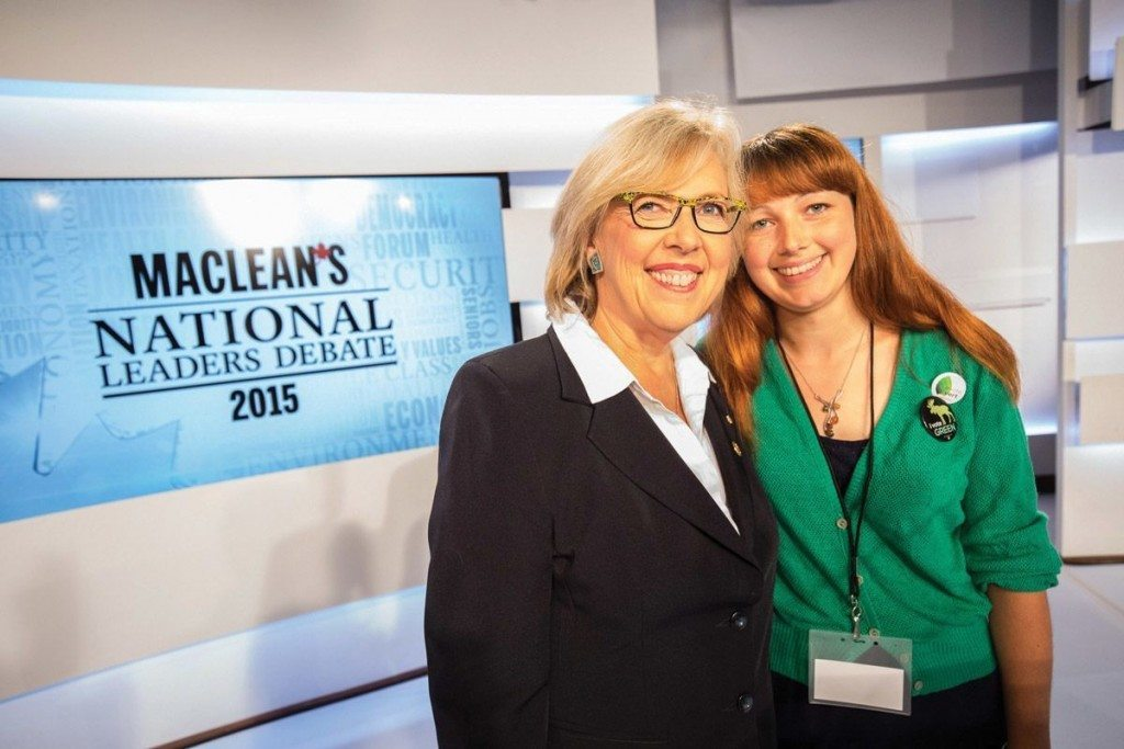 Elizabeth May and her daughter, Cate May-Burton, 24, at the National Leaders Debate.