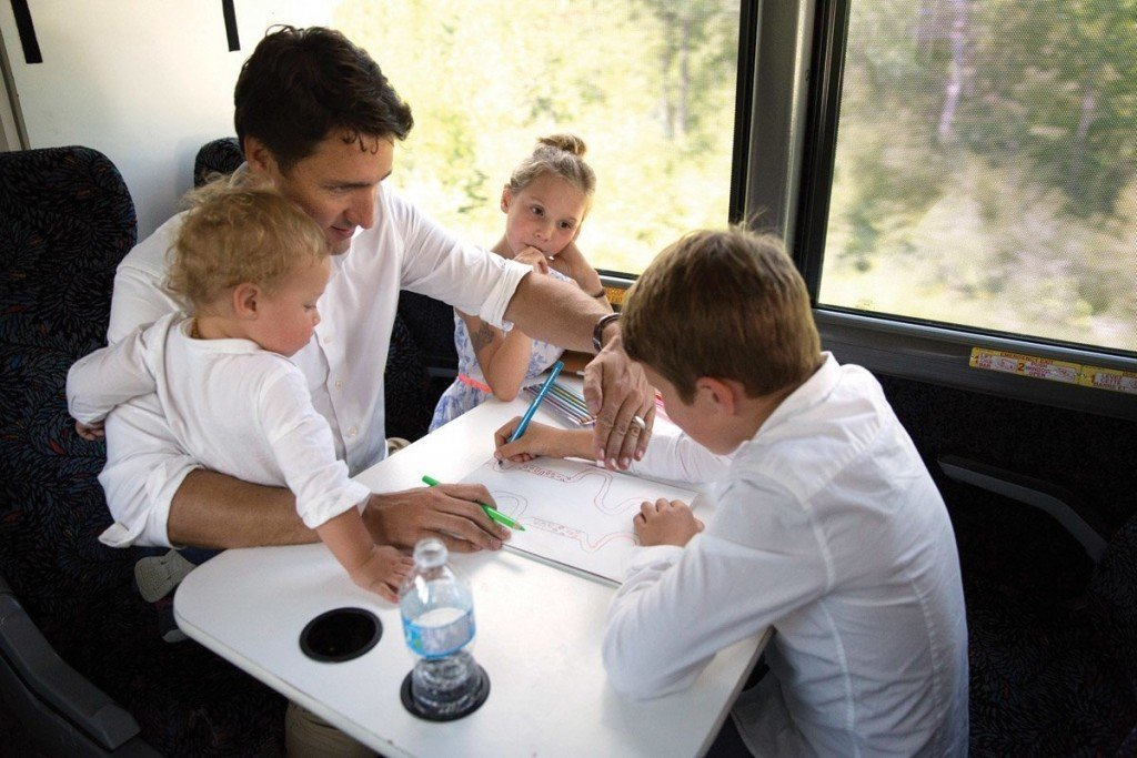 Liberal Leader Justin Trudeau spends time with his children, Xavier, Ella-Grace and Hadrien on the campaign bus.