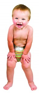 Cute Baby Boy Isolated Wearing Cloth Diaper