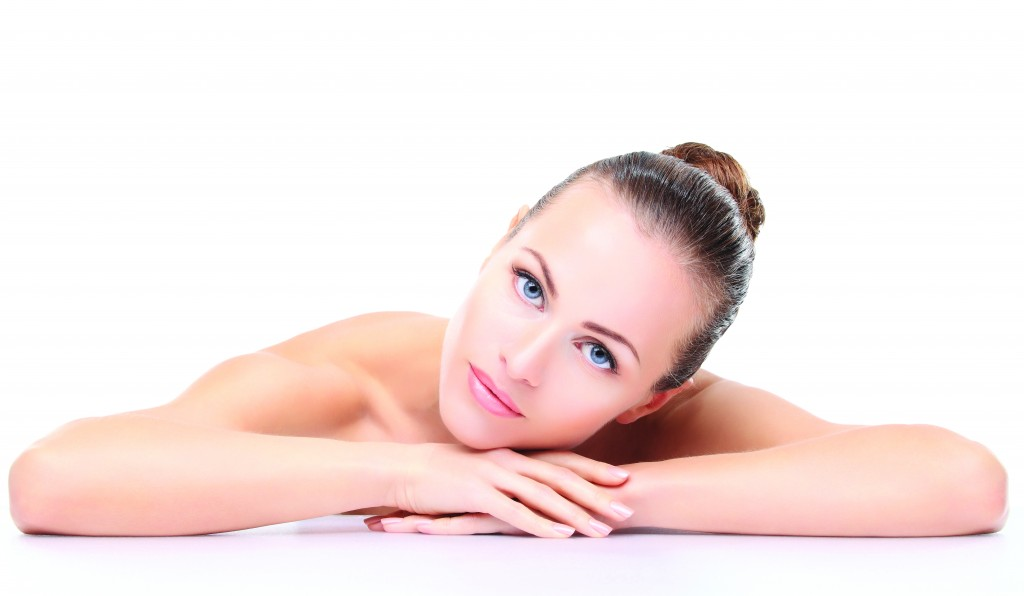 Beautiful Face of Young Woman with Clean Fresh Skin close up iso