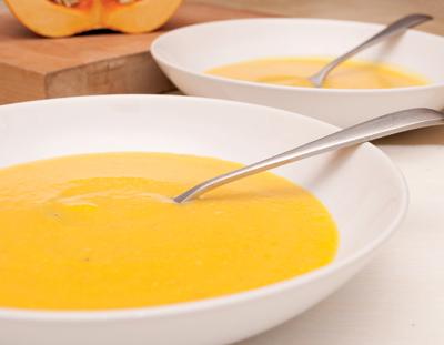Plates of Butternut Squash Soup